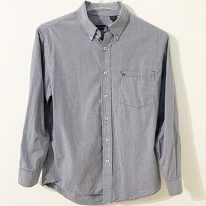 Izod Button Down Small Checked Long Sleeve Shirt